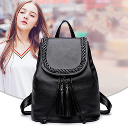 Wholesale Tassel Black Backpack - Women Casual Backpack Leather Tassels Black Drawstring Bags School Shoulder Bag