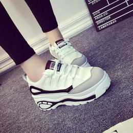 Wholesale Hot Wedges - 2017 Women Harajuku Shoes Thick Soled High Help Woman Platform Muffin Casual Elevator Woman Wedges Zapatos Mujer Hot black white