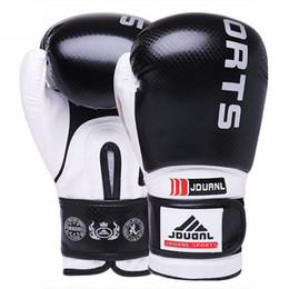 Wholesale Free Mma Gear - 10 oz Boxing Gloves Sanda Karate Free Fight Sandbag Taekwondo Protector MMA Boxeo Muay Thai Mitts Luva De Box Black Red Blue