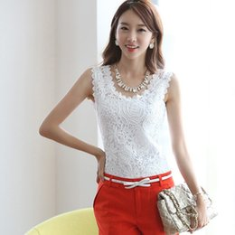 Wholesale Crochet Sleeveless Blouse - New 2017 Womens Tank Tops Lace Crochet Shirts Sleeveless Black White Blouse Plus Size 4XL Roupas Femininas Branco Blusa