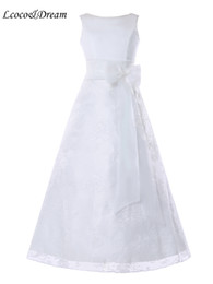 Wholesale Dreams Real - Lcoco&Dream Girls Sleeveless Lace Zipper Comunion Flower Pageant Party Gowns Dresses White