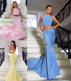 Wholesale Designer Halter Evening Gown - 2017 Blue Pink Yellow Two Pieces Mermaid Evening Dresses Long Halter Open Back Slit Sexy Women Party Formal Evening Gowns Designer Custom
