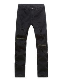 черные разорванные тощие джинсы мужские Скидка Male Black Jeans High-street Men Hip Hop Ripped Jean Pants Zippers Design Hot Skinny Joggers Trousers