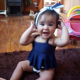 Wholesale Navy Blue Headbands - Navy baby girls Swim Suits stripe Children Swimwear Beachwear kids Bikini 3pcs set Headbands + tank tops+shorts Toddler Bathing Suits A583