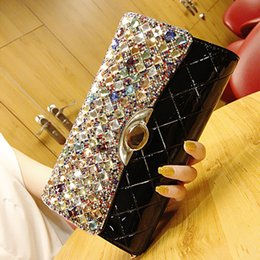 Wholesale Hold Boy - 2017 new fashion casual banquet high-end large-name hand-held package diamond-studded shoulder oblique cross-hand grasping color diamond bag