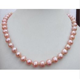 "Wholesale Real Black Sea Pearl Necklace - HOT 18"" 9-10MM REAL SOUTH SEA PINK PEARL NECKLACE 14k"