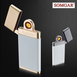 Wholesale Thin Gas Cigarette Lighter - Ultra thin Electric Cigarette lighter Smoking Accessories Windproof Rechargeable Flameless No Gas Metal Pulse USB Lighters