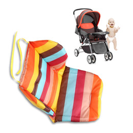 Wholesale Thick Car Seat Cushion - Wholesale- Baby Stroller Cushion Pad Baby Infant Stroller Accessories Rainbow Color Soft Thick Prams Cushion Chair BB Baby Car Seat Cushion