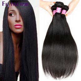 Wholesale Natural Human Hair Extensions 24 - Fastyle Brazilian Peruvian Indian Malaysian Unprocessed Human Straight Hair Extensions Brazilian Hair Weave Bundles Natural Black Color