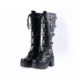 Wholesale Chunky Heel Buckle Boot - Japanese Harajuku Platform Chunky Heel Boots Women Black Leather Buckle Straps Lace Up Gothic Punk High Boots