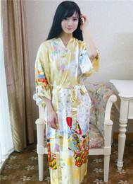 Wholesale Purple Silk Nightgown - Top Selling Summer Women's Kimono Long Robe Purple Faux Silk Bath Gown Yukata Nightgown Sleepwear Pijama Mujer One Size Mds009