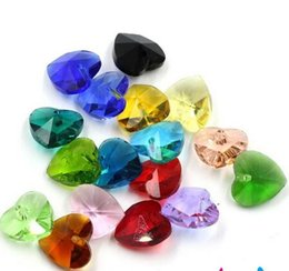 Contas de vidro 14mm on-line-Frete grátis 14mm 100 pcs Encantos De Vidro De Cristal Coração Contas Facetadas Pingente Descobertas Jóias Solta Pérolas Acessórios Contas de Cristal