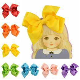 Wholesale Hair Accessories Little Girl Headbands - Kids headband baby little girls big bows headwear 11cm babies grosgrain bow hair clip 20 color children's hair accessories T4487