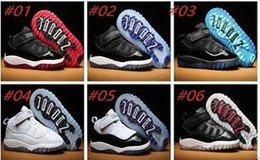 Wholesale Autumn Sunset - New color Small baby shoes Retro 11 Space Jam Kids Basketball Shoes GS Heiress Suede Maroon Sneakers Blue Moon Sunset size:6C-10C