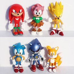 Wholesale Baby Hedgehogs - Hot Sale 6pcs set 6cm Sonic the Hedgehog PVC Action Figures Toys For Baby Diy Cartoon Gifts