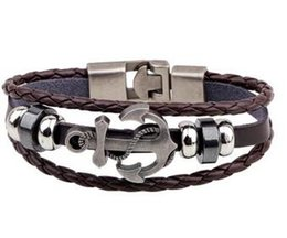 Wholesale Rhodium Plated Bangle - HOT 2018 Newest Fashion Genuine Leather Wrap Black Cowhide Braided Bangles Charm Retro Lover Bracelets nautical bracelets Free Delivery 0103