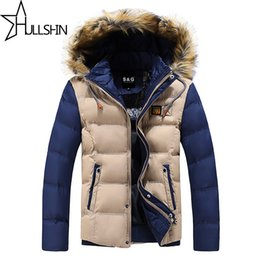 Wholesale Winter Fur Coats For Men - Wholesale- 2016 Thick Warm Winter Jacket for Men Waterproof Fur Collar Parkas Hooded Furry collar Coat high quality Western style WQ8867