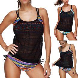 Wholesale Red Tankini Swimsuits - 2017 Newest 2Pcs Women Printed Swimwear Push Up Tankini Top Maillot Bathing Suit Swimsuit Plus Size Shorts Bikinis Sets