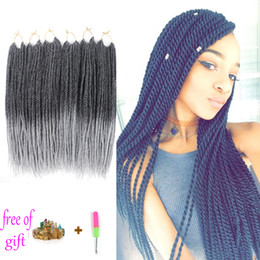Wholesale Synthetic Hair Extensions Burgundy - 30strands Each Pack 80gram Havana Mambo Twist Crochet 18inch Ombre Senegalese Twist Hair Crochet Jumbo Ombre Braid Hair Twist