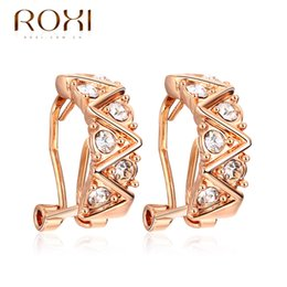 Wholesale Rose Pierced Earrings - ROXI Brand Earrings For Women Christmas Gift Rose Gold Plated Lightweight Zirconia Earrings Piercing Body Fashion Jewelry