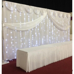Wholesale Wedding Silk Swags - 10ft*20ft White color ice silk Wedding Backdrop Curtain With Swags gold drape Luxury Wedding Props Satin Drape curtain party decoration