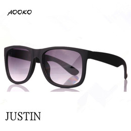Wholesale Red Brand Sun - AOOKO HOT Gardient Justin Retro 601 8g Sunglasses G15 brown gray UV400 Men Women Draving Brand Designer Fashion Lunette Occhiali Sun Glasses