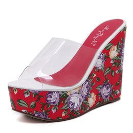 Wholesale Chunky Sandals Girls - N280 2017 Summer Fashion Girl Bohemia Transparent Print Flower Wedges Platform High Heels Women Peep Toe Sandals Woman Casual Shoes