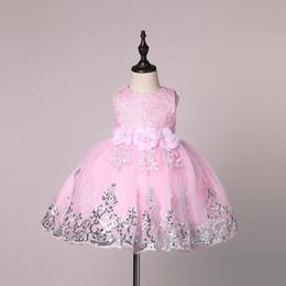 2019 горячие розовые свадебные платья ребенка Цветочная Baby Girl Платье свадебное для детей 1 год на день рождения платья Крещение новорожденных Девочек одежда детская пачка платье девушка Clohtes