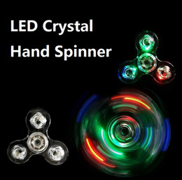 Wholesale Led Novelty Light Hands - New Crystal LED Light Fidget Spinner Toy Triangle Hand Spinners ABS Switch Button EDC Finger Tip decompression Novelty Rollver Cube Toys DHL