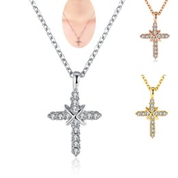 Wholesale Nickle Free Gold Chains - Wholesale Nickle Free Antiallergic 18K Gold Plated Cross Necklace Pendants Creative Crystal Rhinestone New Fashion Jewelry for Women Girls