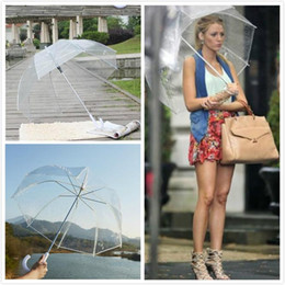 2019 guarda-chuva transparente rosa 2018 Limpar Bubble Umbrella Deep Dome Guarda-chuvas para o dia chuvoso Adultos Meninas Transparent Hong Handle Mushroom Umbrella