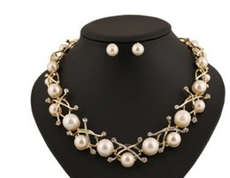 Wholesale Wonderful Earrings - wonderful gold branch pearl lady's necklace earings set 168ghf