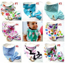 Wholesale Cotton Star Baby - INS Baby Bamboo Bibs + Infant Teething Ring Teeth Stick 2pcs Sets Cotton bamboo fiber Infant Bibs Teething Ring Wooden Teething Training