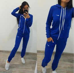 Wholesale Hooded Sweater Xl - New PINK Woman Tracksuit Long Sleeve Hoodies Sweatshirts Winter Sporting Suits Women Letter Print Pants Black blue red sweater