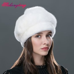 Wholesale Diamond Ear Cap - Wholesale-Whole Mink Fur Hat For Winter Diamond Decoration Berets Solid Natural Fur Outdoor Caps Ear Protection Knitting Hats WZD-01