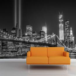 ville de fond Promotion Murale niveaux de gris NY Trade Center Lumières Murale photo papier peint 3d Célèbre ville bâtiment toile de fond