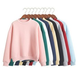 Wholesale Cute Pullover Sweatshirts - Wholesale Plus Size XXL Cute Women Hoodies Pullover 9 colors Autumn Coat Winter Loose Fleece Thick Knit Sweatshirt Female