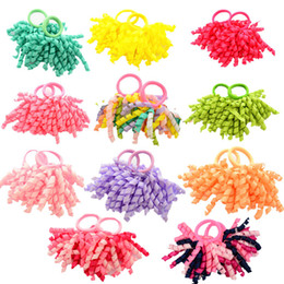 Wholesale Hair Curler Bow - Free Shipping 2 Pcs Pair Candy colored Girls' Curler Hair Ties Kids Ponytail Holder Hair Accessories