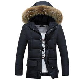 Wholesale Green Waist Coat - Duck Down Jacket Men winter 2017 Waterproof Thicken Warm Removable Hooded Natural Reccoon Fur Down Jacket Coat 3XL
