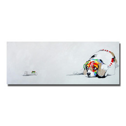 Wholesale Dogs Draw - Hand drawing one panel cartoon animal dog oil painting on canvas fabric free design wall oil abstract painting