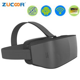 Wholesale Helmet Google - Wholesale- All in one 3D VR Glasses Virtual Reality Google Cardboard Helmet ZV45 Movie Video Box 2560*1440P 2G 16GB 2560*1440 Pixel Android