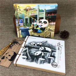 Wholesale Notebook Yellow - Creative Panda hand-painted illustrations, notebooks, soft copies, notebooks, travel logs, leather notes, Sichuan, Chengdu