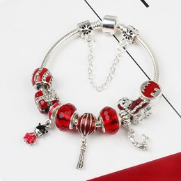 Wholesale Traditional Chinese Red Beads - Wholesale 925 Sterling Silver Plated Charm Bracelet Chamilia Beads Chinese Red Lantern fit Chamilia Jewelry Snake Chain New Arrival
