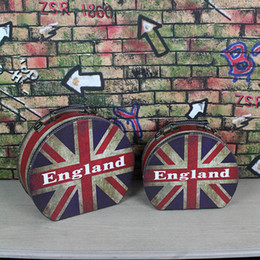 Wholesale Wood Makeup Organizer - Retro England Flag Style Vintage Storage Portable Suitcase Luggage Makeup Box Home Decor Case Container Cosmetic Organizer ZA2947