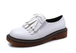 Wholesale Waterproof Black Shoes For Girls - Fashion Women Flat Shoes Ladies Casual Tassels Oxfords Shoes Soft Leather Brogues with Platform Shoes For Teenage Girls Big Size