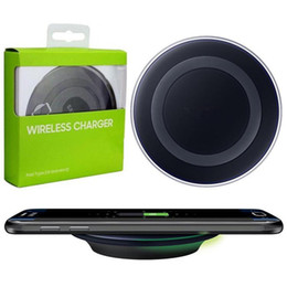 Wholesale Qi Wireless Charging Pad Black - Black White Universal Qi Wireless Charger fast Charging For Samsung Note Galaxy S6 s7 Edge mobile pad with retail package