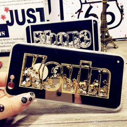 Wholesale Rhinestone 3d Case - For Samsung galaxy s6 s7 s8 edge plus note 5 DIY Fashion Cute Glitter Sparkle Luxury 3D Exclusive Customize Name Personal Mirror Case