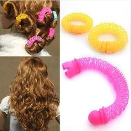 Wholesale Hot Elastic Girls - 8pcs Girls Curler Hair Curlers Elastic Ring Bendy Curler Spiral Curls DIY Tool Girl Women Accessories Elastic Hair 2017 New Hot