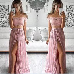 Wholesale Two Sided Belt - 2017 Sexy Blush Two Pieces Prom Dresses Off The Shoulder A Line High Split Side With Belt Formal Evening Gowns Vintage Lace Dresses