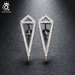 Wholesale Sharp Studs - Unique Design Sharp Triangle Earrings Stud Shiny Crystal White Gold Plated Hot Summer Party CZ Diamond Jewelry for Women OEW133